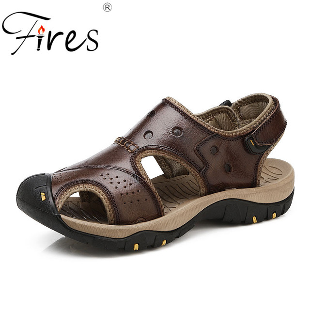 f4ef9076008c Fires Men Casual Sandals PU Leather Outdoor Shoes Summer Beach Loafers  Non-slip Soles Flat Sandal Wearable Comfortable Man Shoes