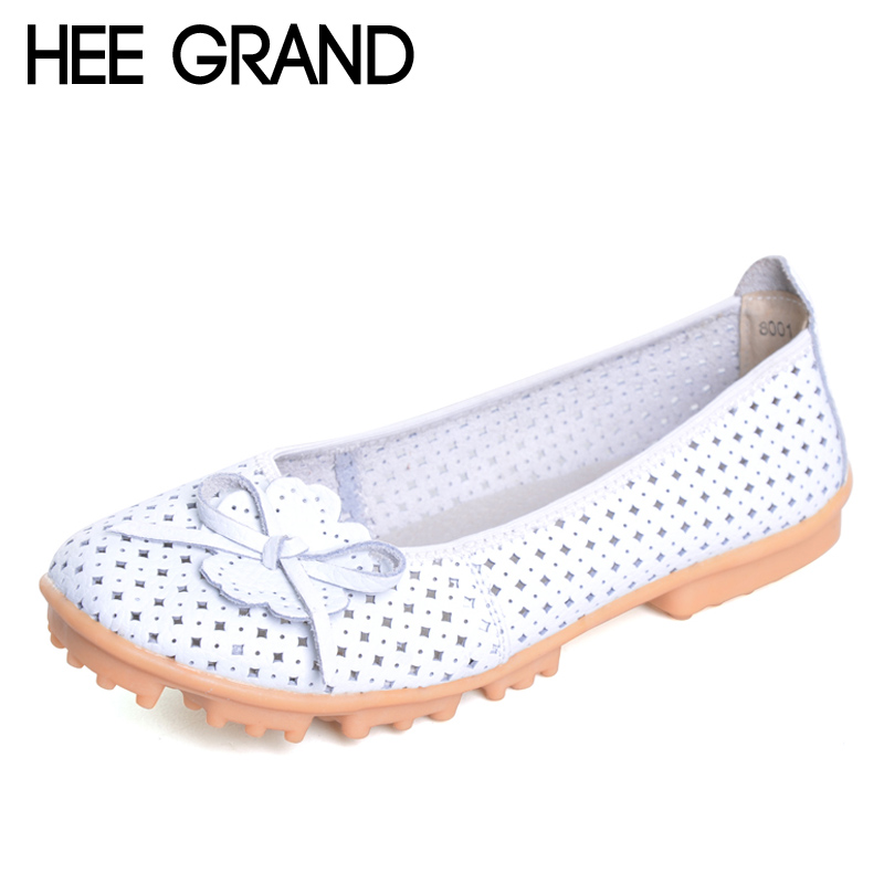 HEE GRAND Summer Style Loafers Split Leather Flats Shoes Woman Slip On Moccasin With Flowers Cut-Out Soft Women Shoes XWD3062 lanshulan bling glitters slippers 2017 summer flip flops platform shoes woman creepers slip on flats casual wedges gold