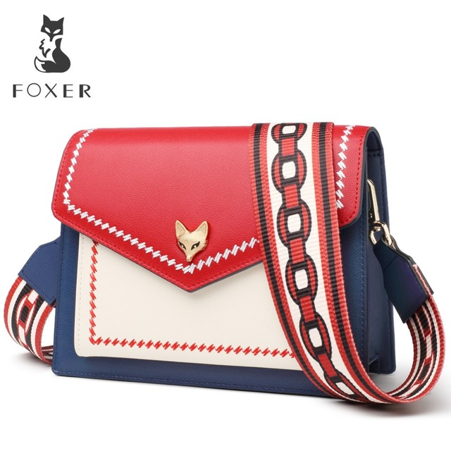 FOXER Brand New Women Leather Colorful Crossbody Bag Lady Folk-custom Panelled Flaps Shoulder Bags special Design For Female