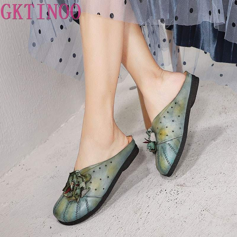 GKTINOO Floral Slide Shoes Female 2019 Genuine Leather Summer Slippers For Women Closed Toe Handmade Casual Lady Vintage ShoesGKTINOO Floral Slide Shoes Female 2019 Genuine Leather Summer Slippers For Women Closed Toe Handmade Casual Lady Vintage Shoes
