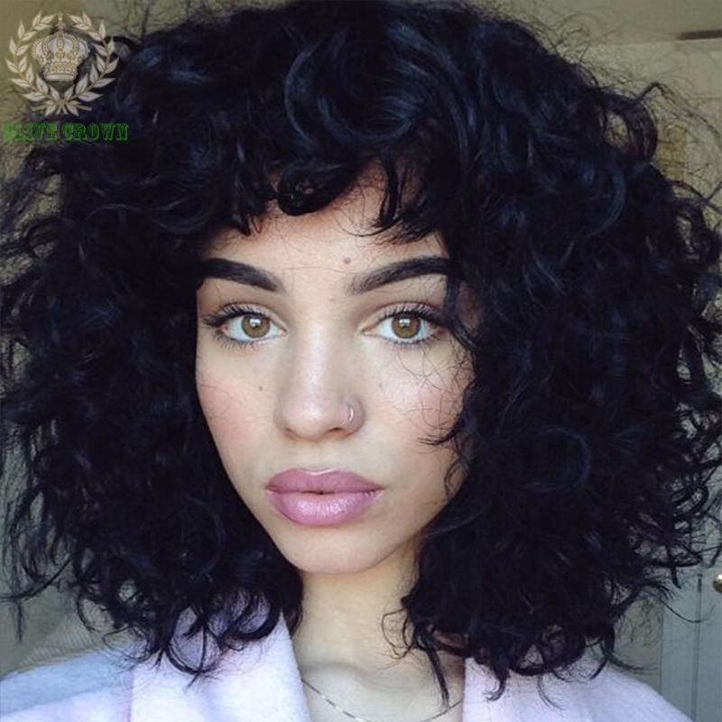 Short Bob Wig Loose Curly Full Lace Human Hair Wigs For
