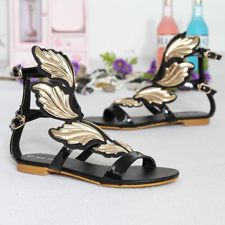 Moraima Snc/2019 г. новые женские сандалии с большими крыльями для девушек, для свиданий, на плоской подошве, для отдыха, пляжные женские сандалии гладиаторы, удобная обувь, сандалии - 3