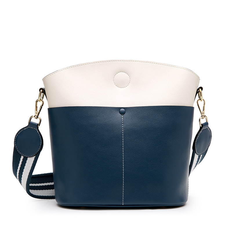 New Korean bucket bag Leather large-capacity leather simple hit color shoulder bag Magnetic buckle Messenger bag micocah women simple double color buckle buckle shoulder bag chain messenger bag gn40021