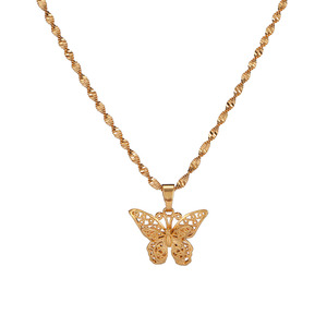 New Fashion Yellow Gold Butterfly Statement Necklace Chokers Pendants Woman Water Wave Chain Necklaces Collier Femme Jewelry(China)