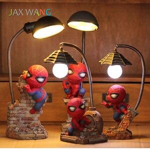 Image 1 - Super Spiderman Avengers Union 3 Led Nacht Licht Harz Handwerk kinder Home Desktop Tisch Lampe Figuren Geburtstag Weihnachten Hochzeit geschenke
