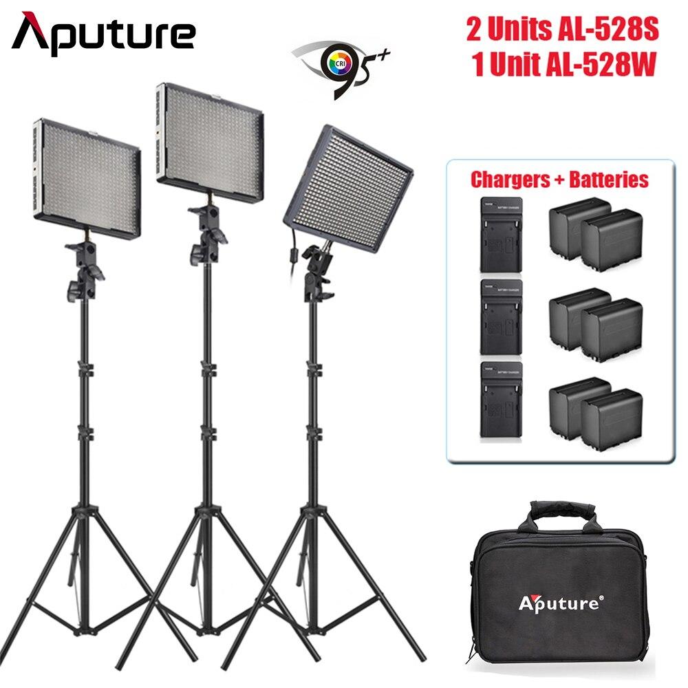 Aputure Amaran AL-528W + AL-528S Led vidéo Studio lumière haute CRI95 + batterie pour Sony NP-F960 et chargeur de batterie