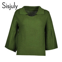 Sisjuly Women 60s Sweaters Autumn Green Pullover Long Sleeve Solid Sweater Regular Fashion Casual Cute Ladies