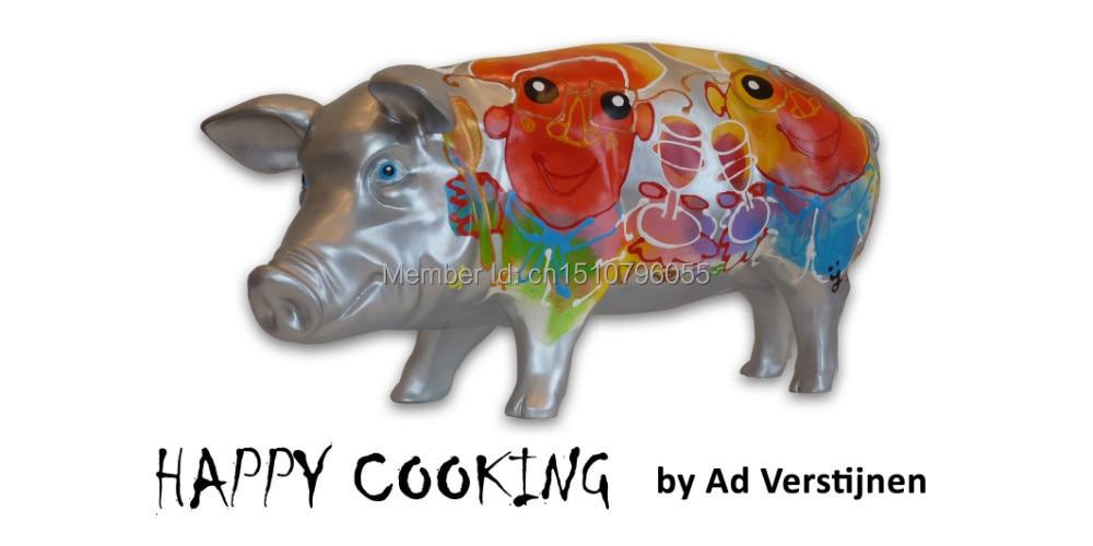 """Polyresin 예술 돼지 수집 가능한 돼지 예술 돼지 조각 """"행복한 요리"""""""