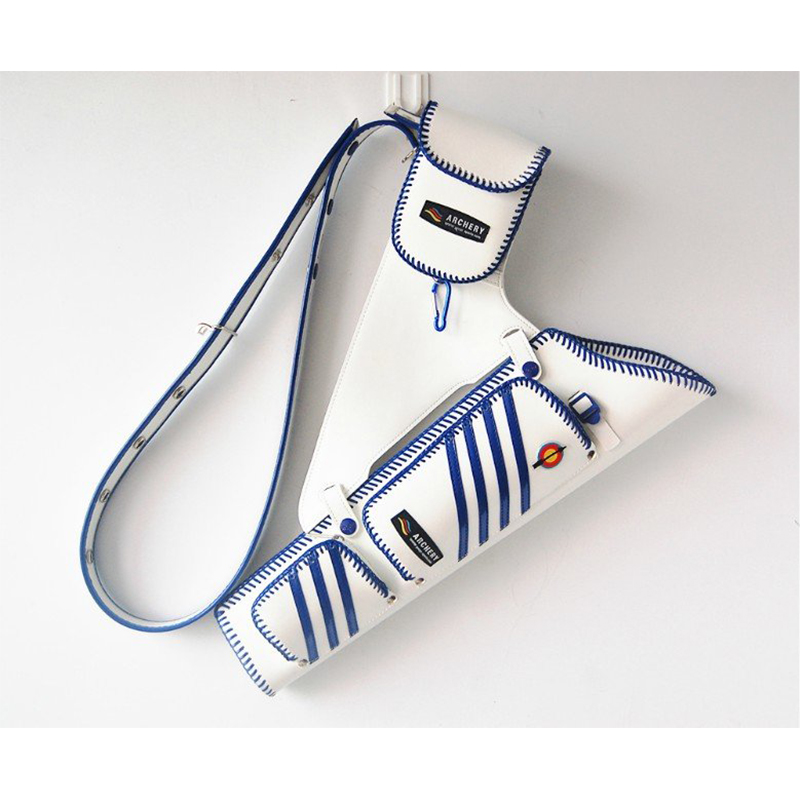 White and Blue Arrow Quiver Archery Back Holder Bow Storage Bag Pouch Belt Strap Side Waist Outdoor accessory Shooting Hunting