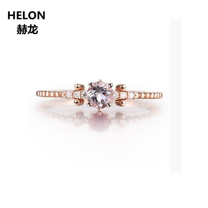 купить Women Solid 14k Rose Gold Natural Diamonds Engagement Ring 0.3ct Round Cut Natural Morganite Wedding Ring Trendy Party Jewelry по цене 21453.82 рублей