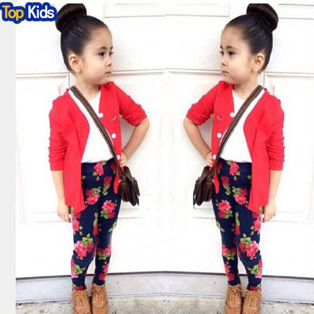 c6593ae67 CCS258 3 pcs roupas infantis menina T-shirt + cardigan + printing pants  leggings child clothes girl suits retail