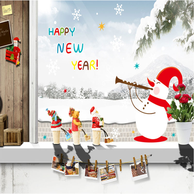 Christmas Decorations For Home Windows: Aliexpress.com : Buy New Year Snowman Christmas Wall