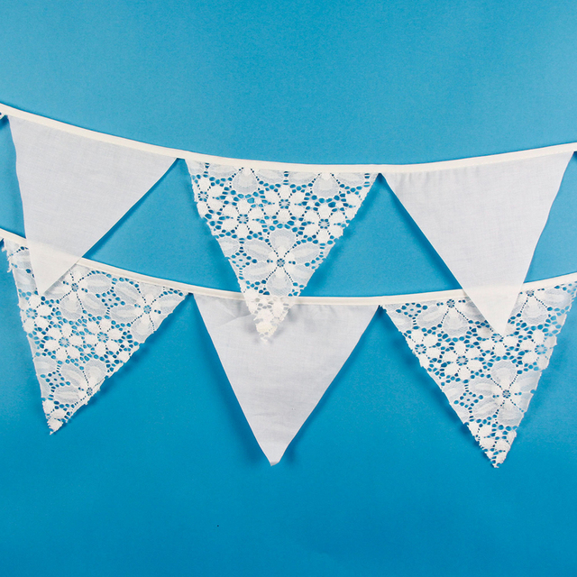 12 דגלים 3.2 m לבן תחרה בד כותנה גבתון דגלון דגל באנר גרלנד חתונה/יום הולדת/מסיבת תינוק מופע אבזר דקורטיבי