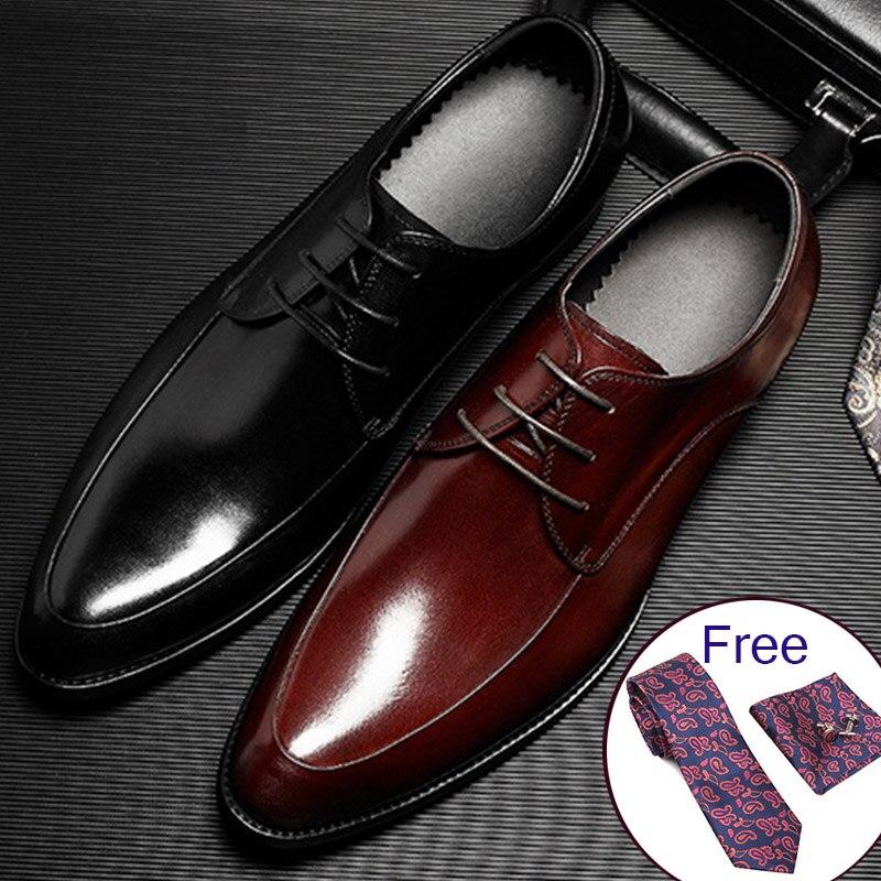 Mens Bullock genuine leather shoes luxury brand black men party wedding dress shoe Business Leather Shoes