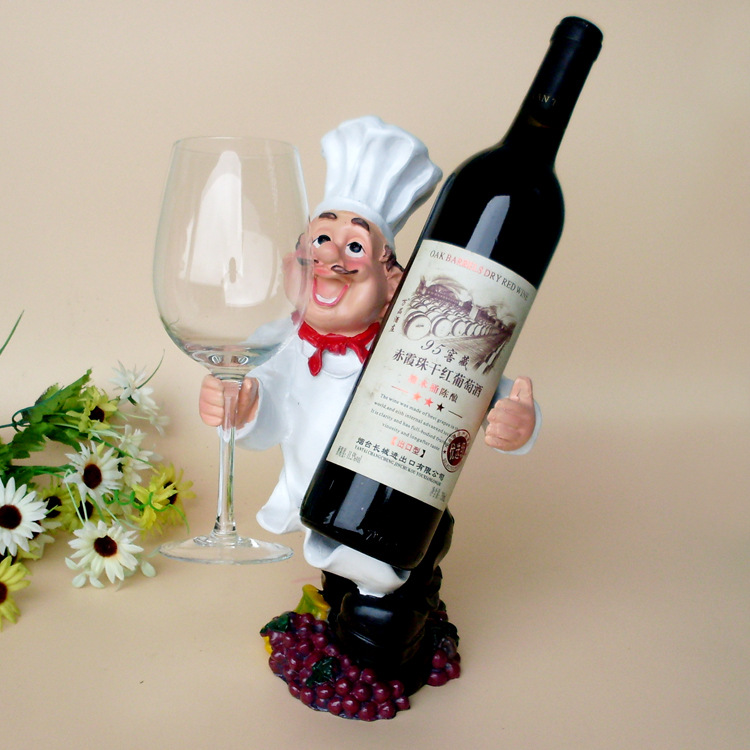 Chef personalized ornaments resin wine rack hanging creative people Wine Holder Bottle Shelf Wine Stand Glass Rack