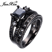 JUNXIN Classical Style New Jewelry Princess Cut Black White CZ 10KT Black Gold Filled Women Wedding Ring Set RB0292
