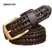 New Braided Leather Men S Belt Hand Knitted Genuine Leather Brass Pin Buckle Casual Style Woven