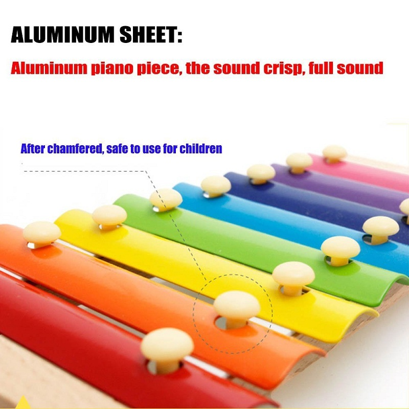 Wooden Xylophone 8 Note Music Instrument Infant Children Musical