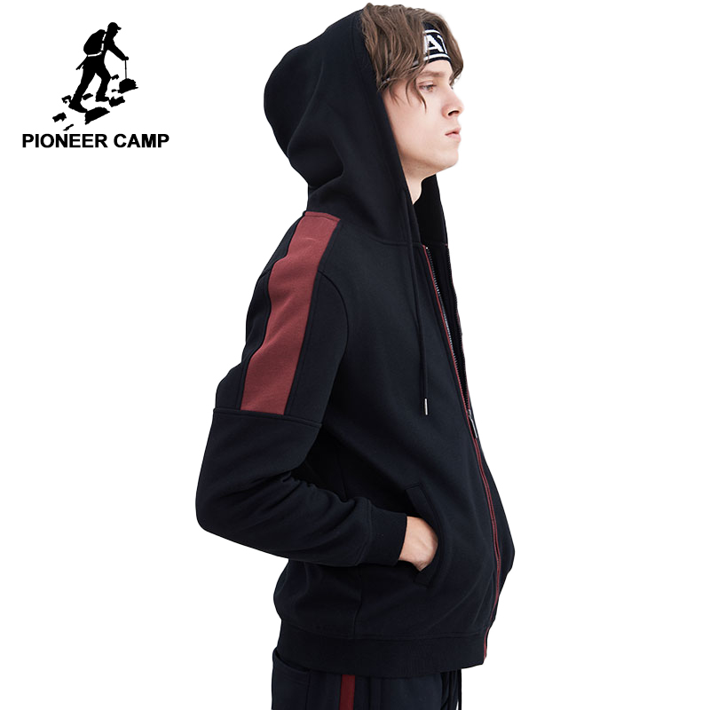 Pioneer Camp warm fleece men jacket brand clothing fashion patchwork hooded thick coat male top quality outerwear AJK802327
