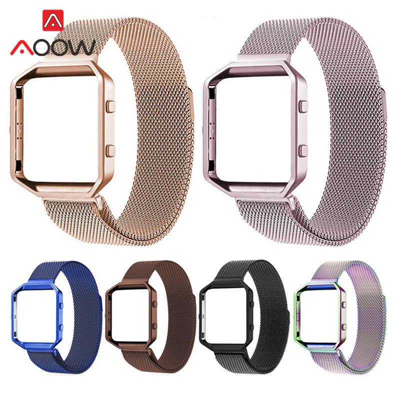 Milanese Magnetic Loop + Frame For Fitbit Blaze Men Women Rose Pink Stainless Steel Replace Bracelet Strap Band For Smart Watch