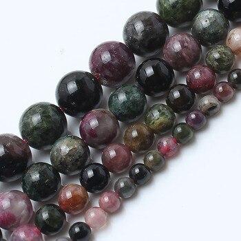 Grânulos De Pedra naturais Turmalina Rodada Beads Para Fazer Jóias 15 inches/strand 6/8/10mm Contas fazer Pulseira Jóias Diy