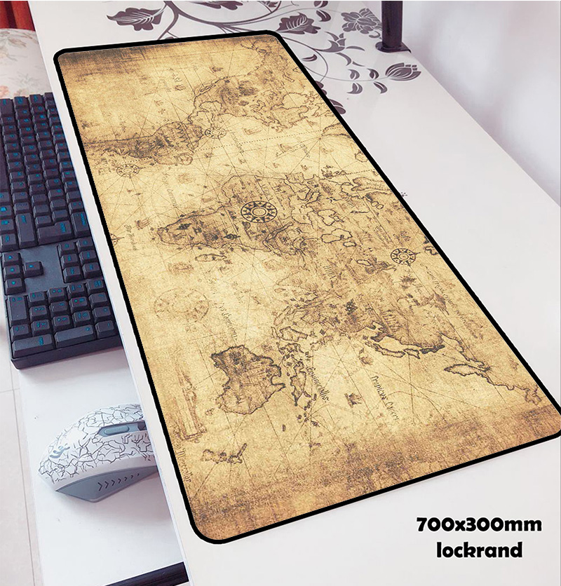 Old World Map Mouse Pad 700x300x3mm Pad Mouse Notbook Computer Padmouse Van Gogh Gaming Mousepad Gamer To Keyboard Mouse Mats