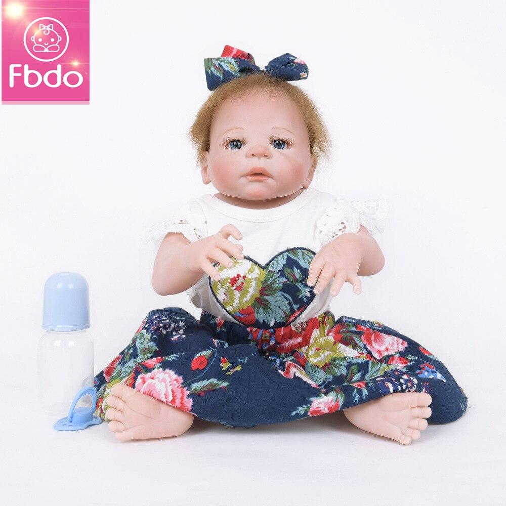 Fbdo Newborn Full Body Silicone Bebe Doll Reborn 22Inch Vinyl Realistic Collectible Doll Reborn Baby Simulator Dolls For Girls