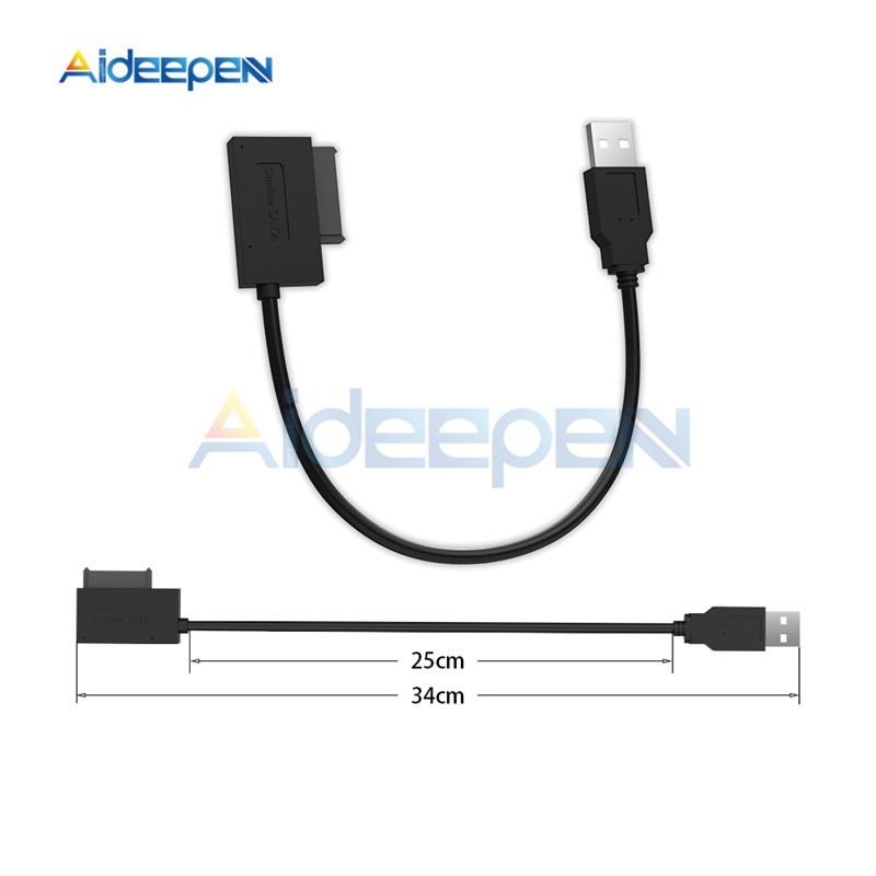 USB 2.0 to Mini Sata II 7 6 13Pin SATA Hard Disk Adapter Converter Cable For CD/DVD ROM Slimline Drive Laptop High Speed image