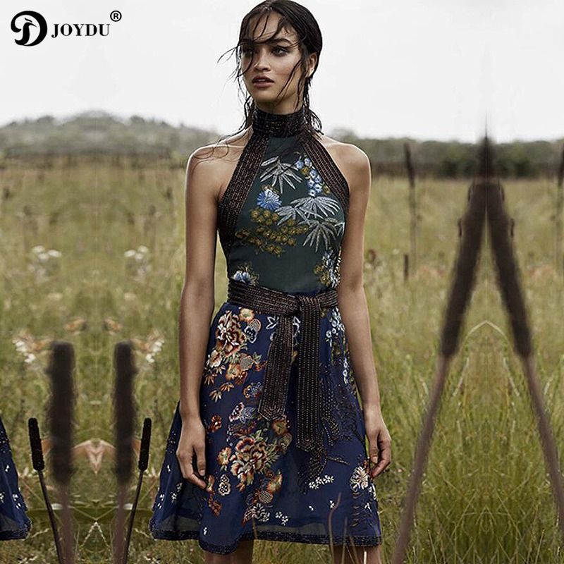 JOYDU 2018 Vintage Midi Dress Female Runway Design Luxury Beading Belt Chiffon Party Summer Dresses Sleeveless Halter Boho Dress