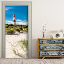 Free shipping 3D seaside lighthouse Door Wall Stickers DIY Mural Bedroom Home Decor Poster PVC Waterproof Door Sticker 77x200cm(China)