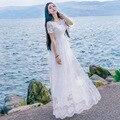 Белый Женщины Кружева Длинные Платья 2017 Летний Новый Шею Пят Princess Dress Vintage Коротким Рукавом Пляжный Отдых платья