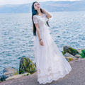 White Women Lace Long Dresses 2017 Summer New Round Neck Ankle-Length Princess Dress Vintage Short Sleeve Beach Holiday Dresses