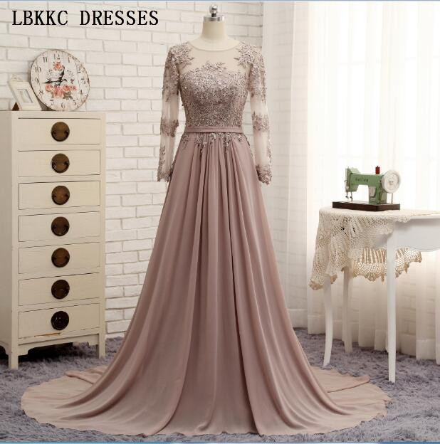 Long Sleeves Beaded Evening Dresses Party Elegant Gowns Champagne Chiffon A  Line Vestidos De Festa Vestido 63e8c1d859a6