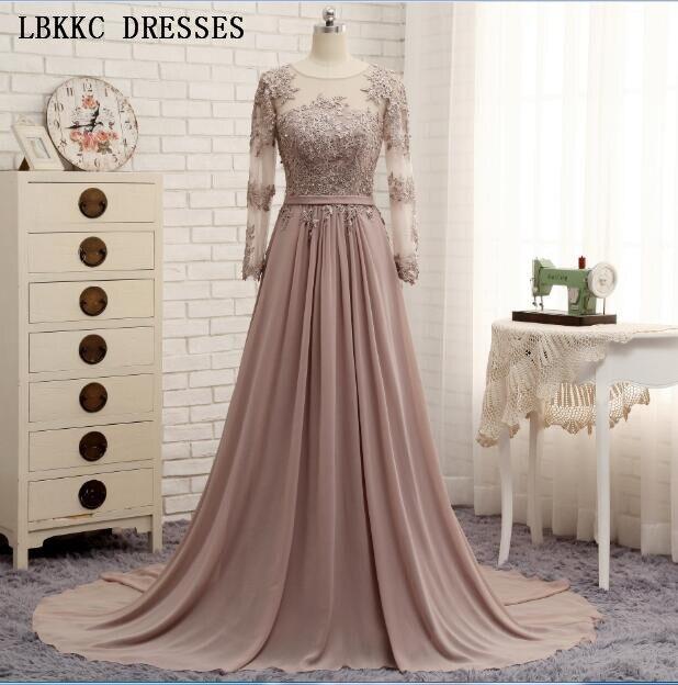 Long Sleeves Evening Dresses Party Gowns Chiffon A Line Vestidos De Festa Longo Robe De Soiree