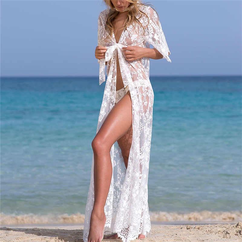 2c9d8f3ee80 ... Sexy See Through Lace White Bathing Suit Cover Up Beach Wear Women  Fashion Long Kimono Cardigan ...