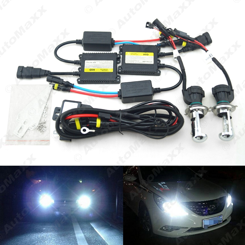 цена на 10Sets 35W AC Car Headlight H4 HID Xenon Bulb Hi/Lo Beam Bi-Xenon Bulb Light Digital Slim Ballast HID Kit #J-4482