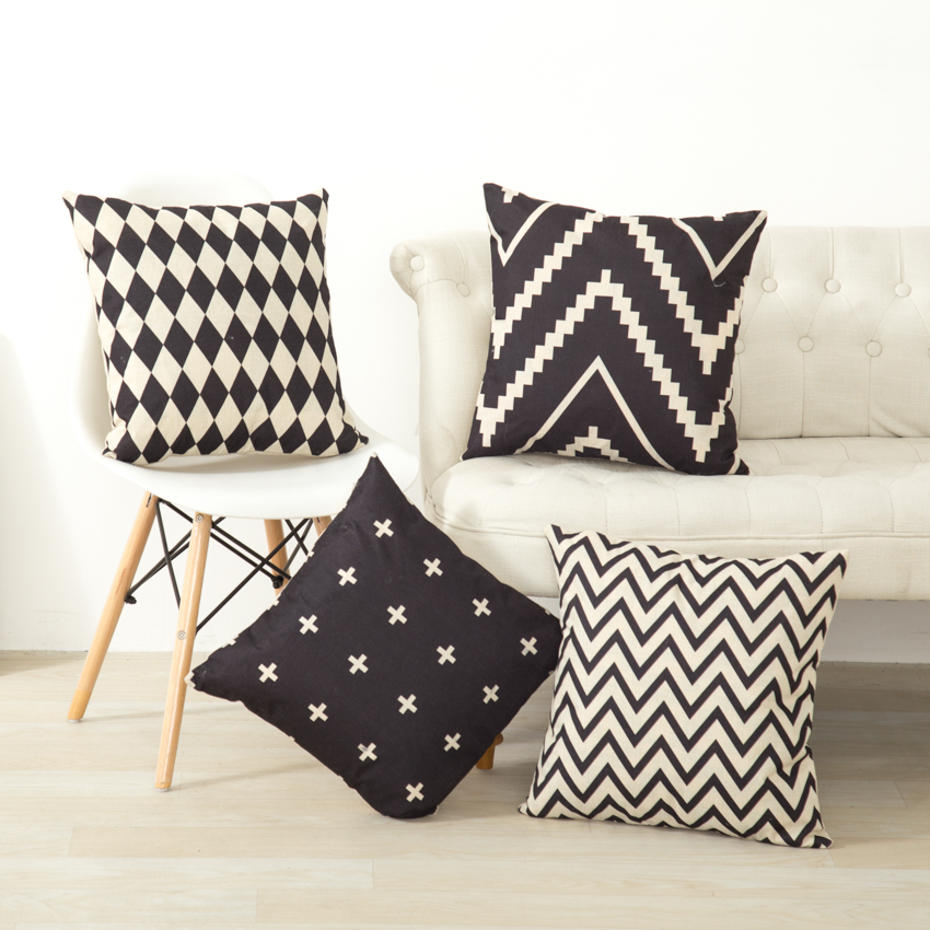 Geometric Nordic Cushion Cover Throw Pillow Covers Decorative For Sofa White And Black Housse De Coussin 45x45cm