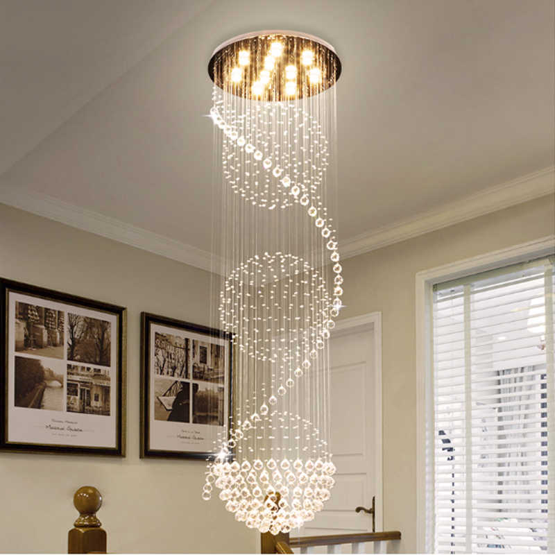 Staircase Pendant Lights Modern Revolving Long Crystal led Pendant Light Dining Room Luxurious Crystal Hanging Lamps Modern