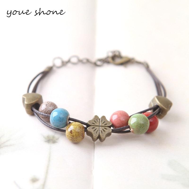 2018 Ethnic Bracelet Bohemia Classic Natural Ceramics Multiple Colors Beads Bracelets Bangles for Women Best gift Jewelry