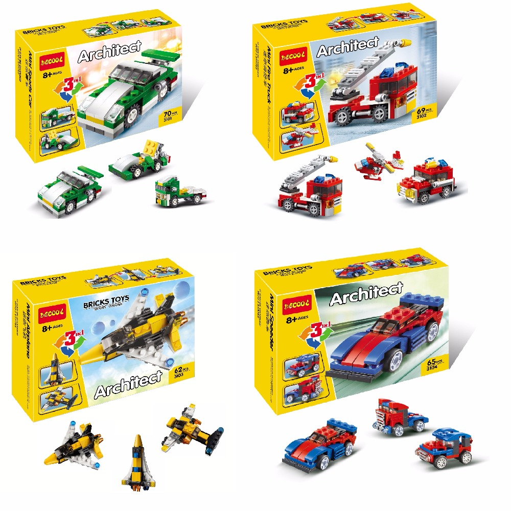 DECOOL City Creator 3 in 1 Mini Fire Rescue Speeder Sports Car Model Building Blocks Toys For Children Fit lego lepin minifigure lepin city creator 3 in 1 beachside vacation building blocks bricks kids model toys for children compatible with lego gift kid