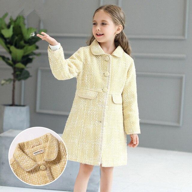 4cc98171c4aa Ropa de abrigo para niñas de invierno amarillo a la moda 2018 otoño Ropa  para Niñas
