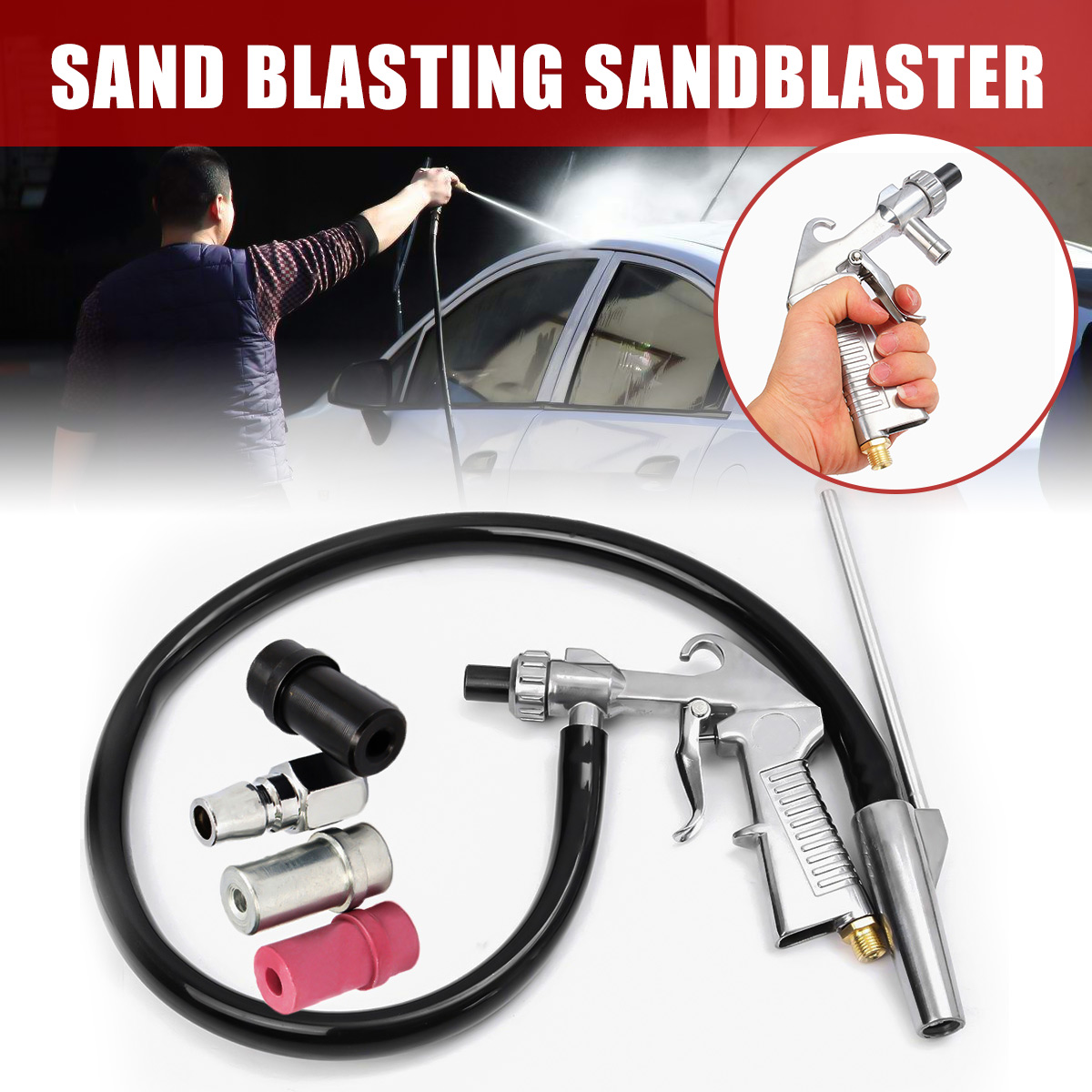7 stücke Air Sandstrahler Sandstrahlen Explosion Pistole + Düsen + Stecker + Rohr Entrosten Werkzeug Kit Power Tools