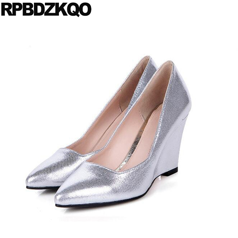 Pumps 3 Inch Metal Slip On Sexy Size 4 34 Silver 2017 Prom Shoes Wedge Pointed Toe Ladies China New Spring Fashion Autumn new 2017 spring summer women shoes pointed toe high quality brand fashion womens flats ladies plus size 41 sweet flock t179