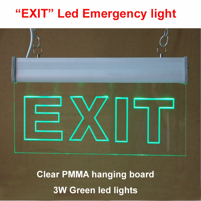 Free Shipping LED Light emergency exit sign clear PMMA