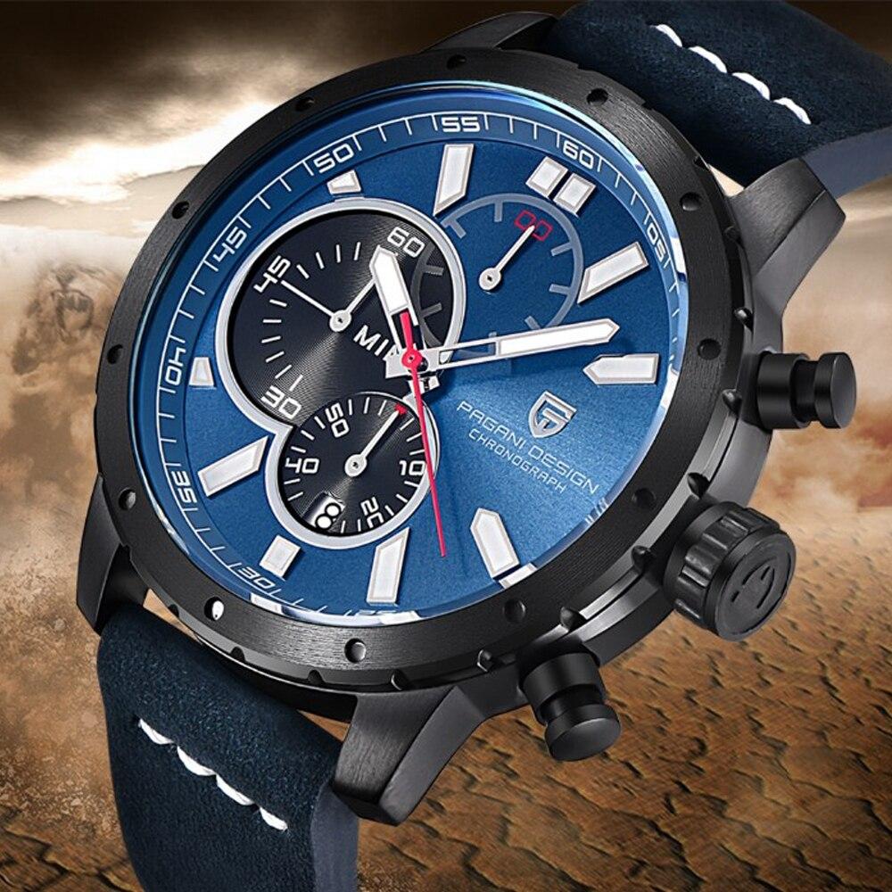 852abff2d4c Relógios Homens Cronógrafo À Prova D  Água Esporte Relógio de Quartzo Marca  de Luxo PAGANI PROJETO relógios de Pulso Relógio Militar relogio masculino