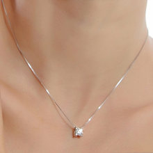 SaiSee Shiny Crystal Pendant Necklace For Women With 45cm Box Chain Luxurious Big Cubic Zirconia Necklace Female Square Stone(China)