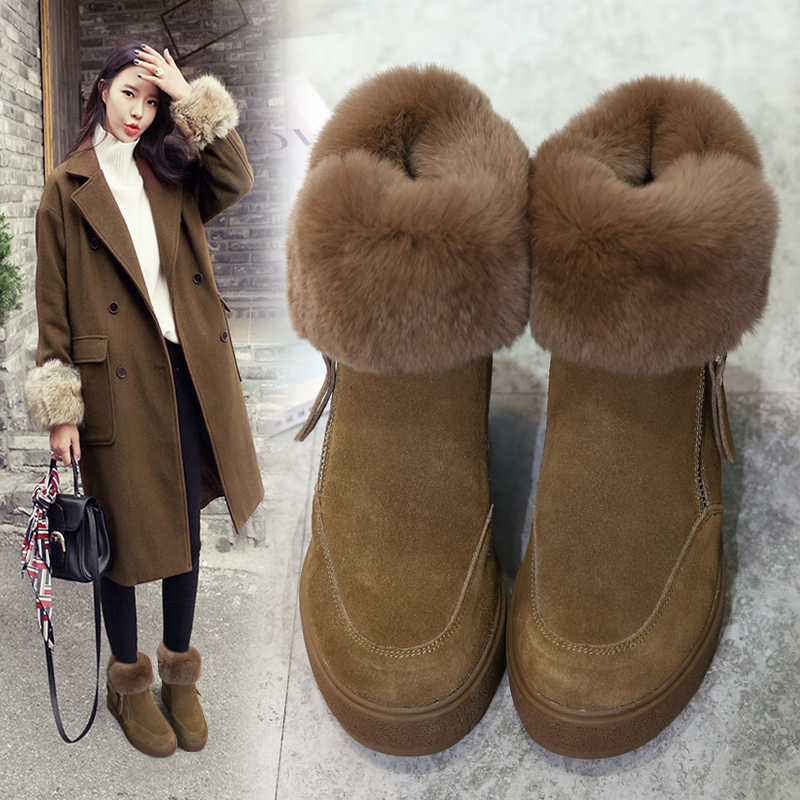 MIQUINHA Round Toe Women Snow Boots Fur Decor Short Booties Side Zip Design Women Winter Warm Shoes Height Increasing Flock Shoe snow fur slip on fashion round toe winter boots women ankle flat shoes celebrity gray bow booties chinese female short new