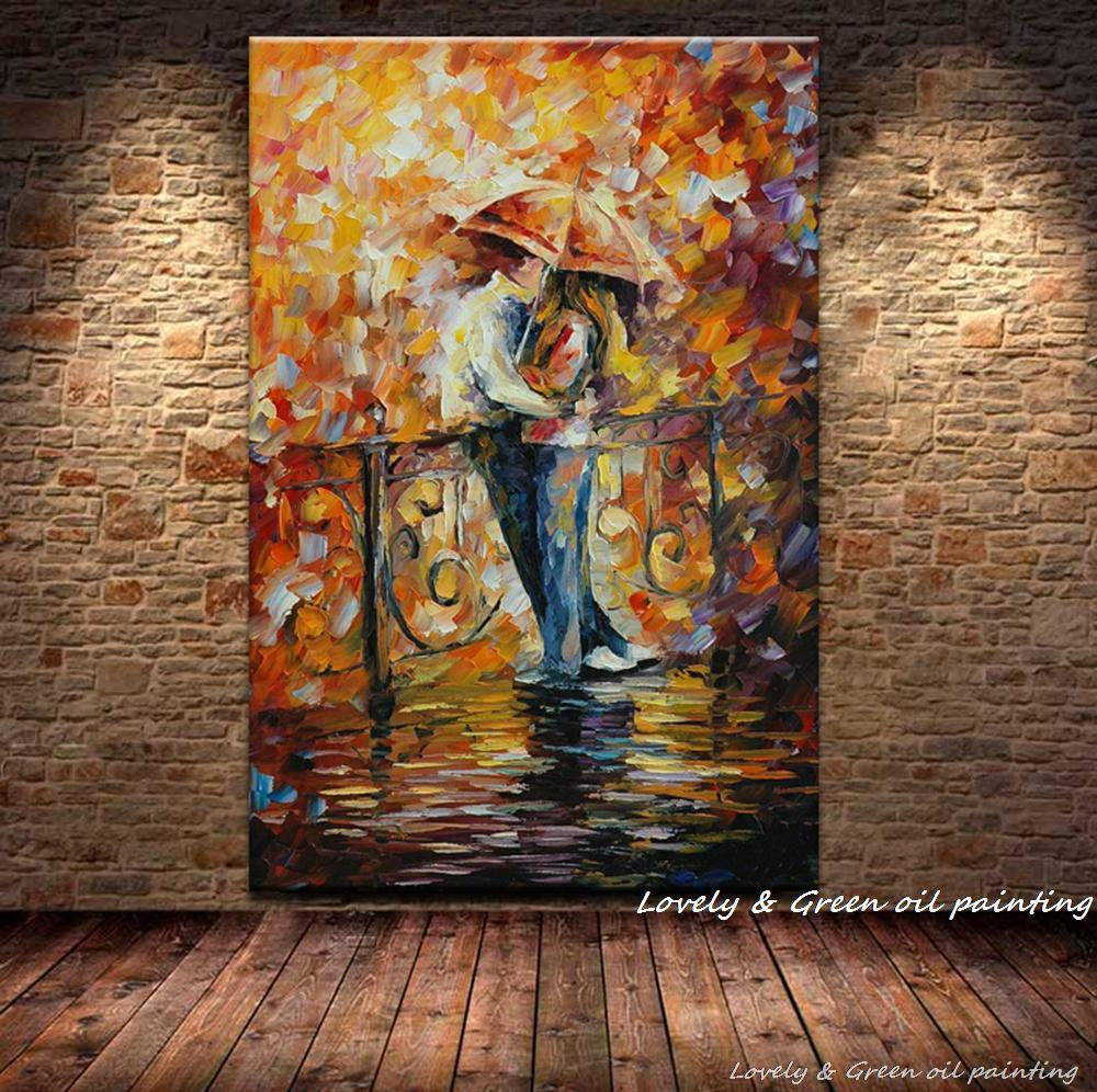 Handpainted Abstract Love And Romance Paintings Modern