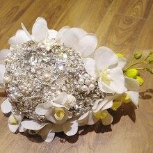 Handmade rhinestone brooch Phalaenopsis  teardrop bouquet bridal brooch bouquet Wedding Bride 's  Jewelry  Flower drops Bouquets