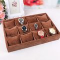 Free shipping quality brown velvet watch plate bracelet holder 12 small pillow jewelry display box pallet box storage props